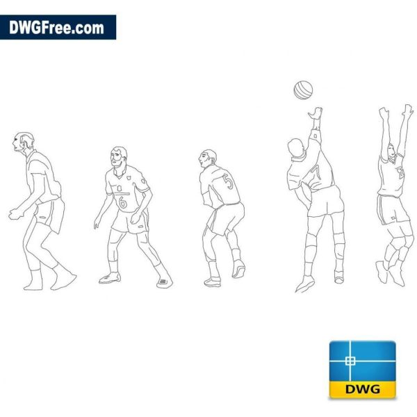 Volleyball players dwg cad