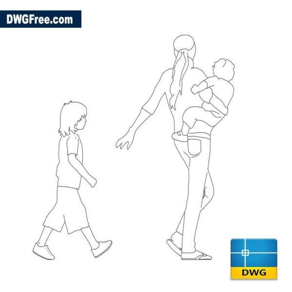 Women with children dwg cad