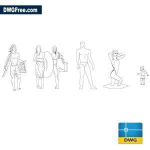 people on the beach dwg cad