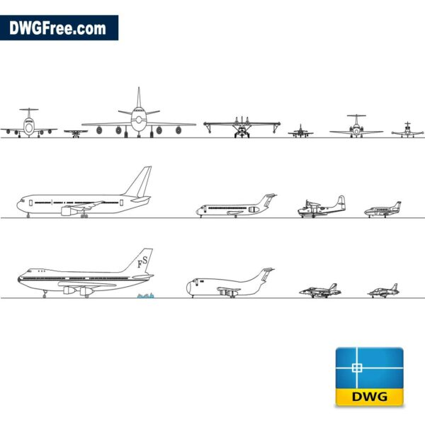 Aircraft dwg cad blocks 2d