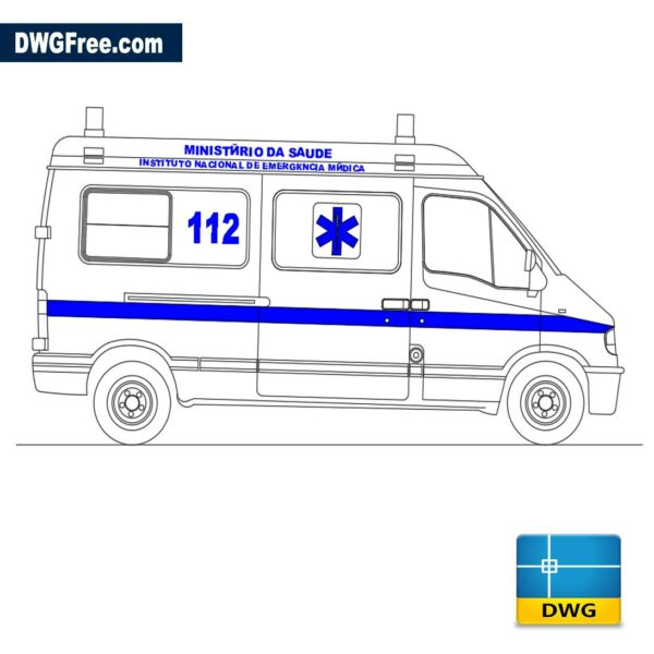 Ambulance CAD Block drawing in Autocad