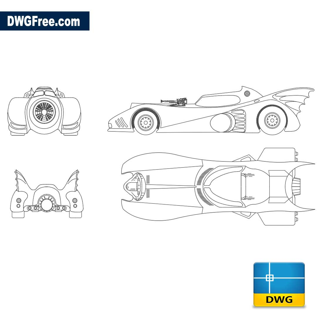 Batmobile in sight – Autocad blocks free download DWG 2D