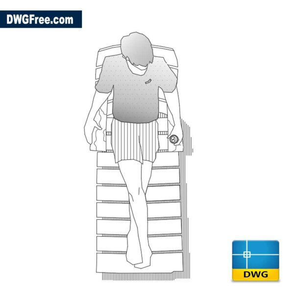 Beach chair with person, top view dwg