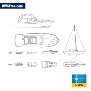 Boats in plan dwg cad blocks 2d