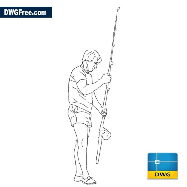 Boy with fishing rod dwg drawing in Autocad