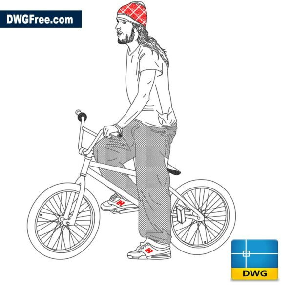 Cyclist with bike dwg