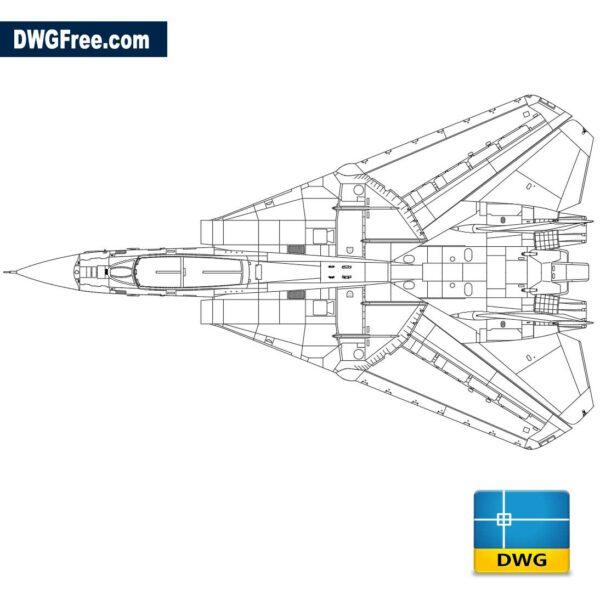 F-14 tomcat hunting plane dwg cad blocks 2d