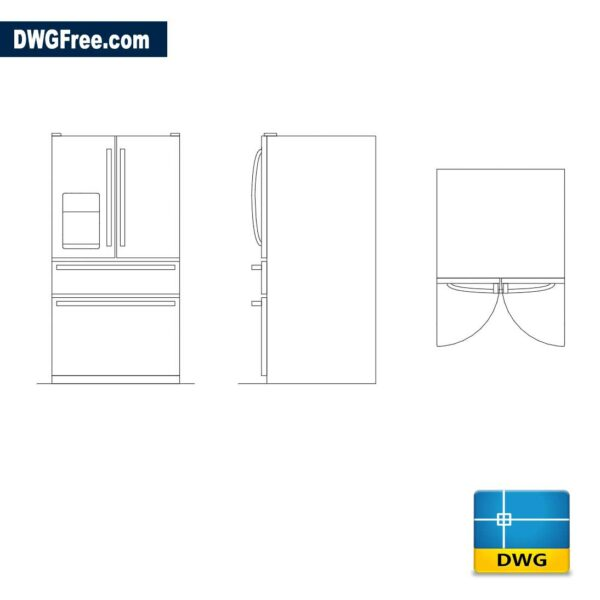 Four Door Refrigerators dwg cad autocad
