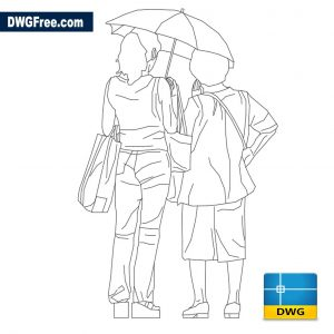 Girl and lady with umbrella dwg