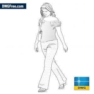 Girl in casual summer suit dwg Drawing