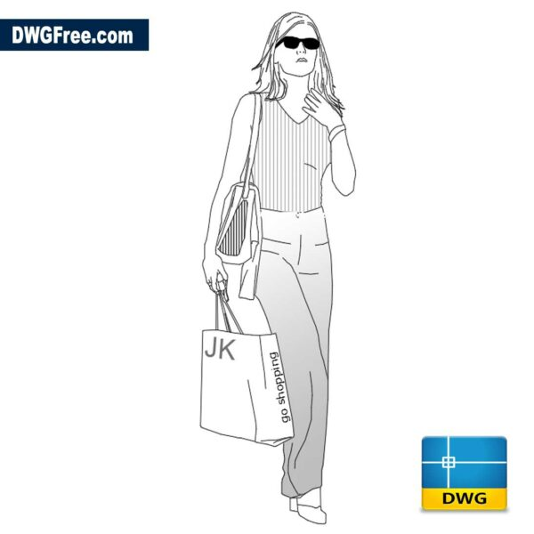 Girl with shopping bag dwg