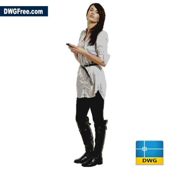 Girl with smartphone dwg