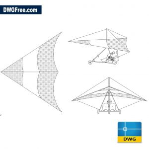 Hang glider with motor dwg cad blocks 2d