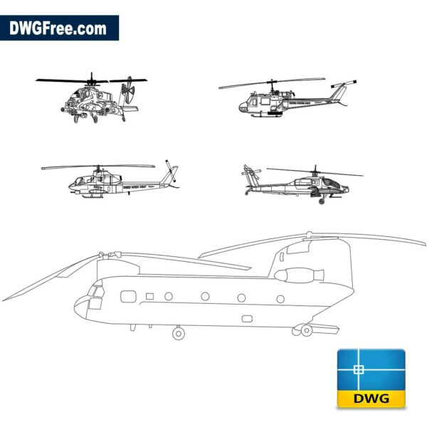 Helicopter dwg 2d cad blocks