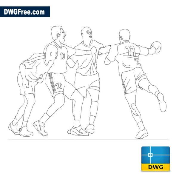 Handball players dwg