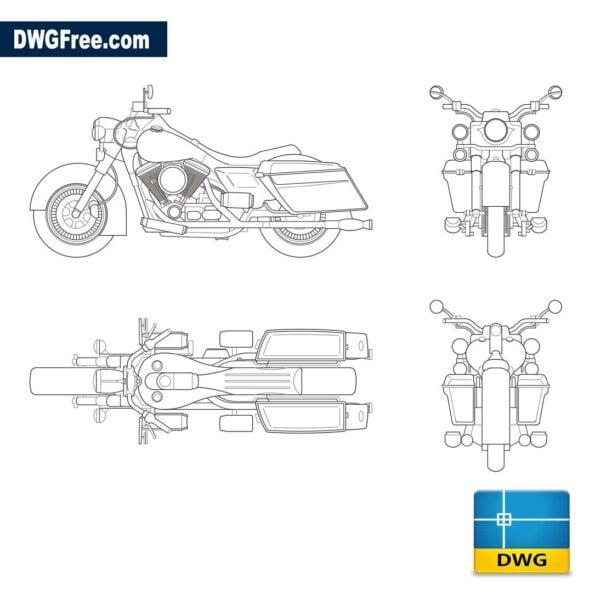 Harley Davidson dwg cad blocks 2d