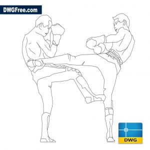 Kickboxers dwg Cad blocks drawing