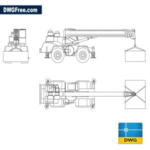 Mobile crane on tires dwg cad blocks