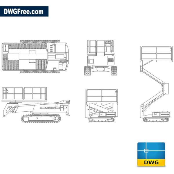 Mobile lifting platform dwg cad blocks 2d