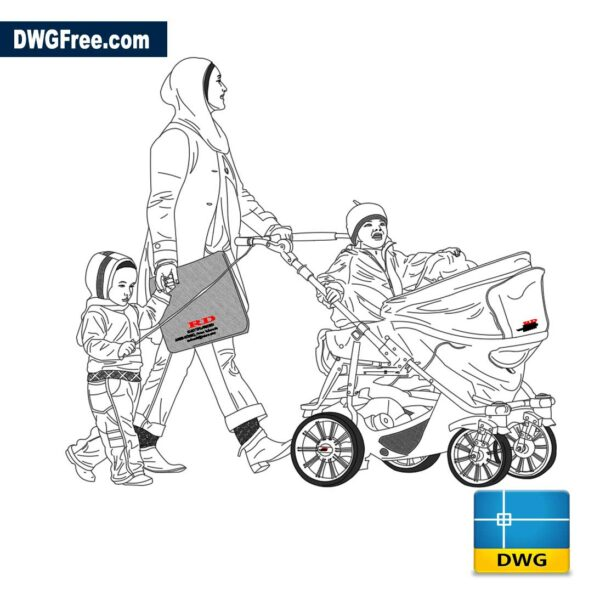 Mom and baby stroller
