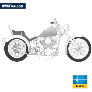 Motorcycle Harley dwg cad blocks 2d