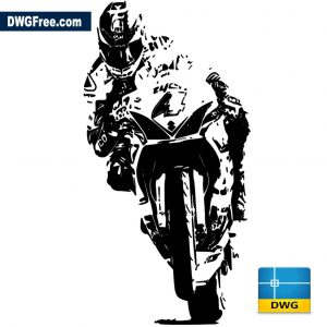 Motorcyclist on a motorcycle dwg