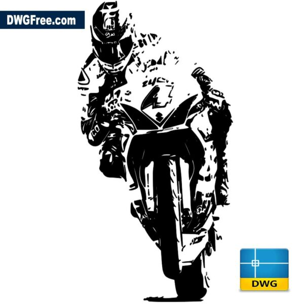 Motorcyclist-on-a-motorcycle-dwg-autocad