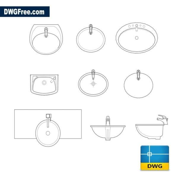 Rounded washbasins dwg cad autocad
