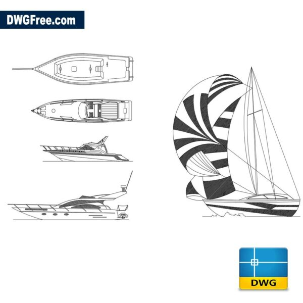 Sailboat and Yachts dwg cad blocks