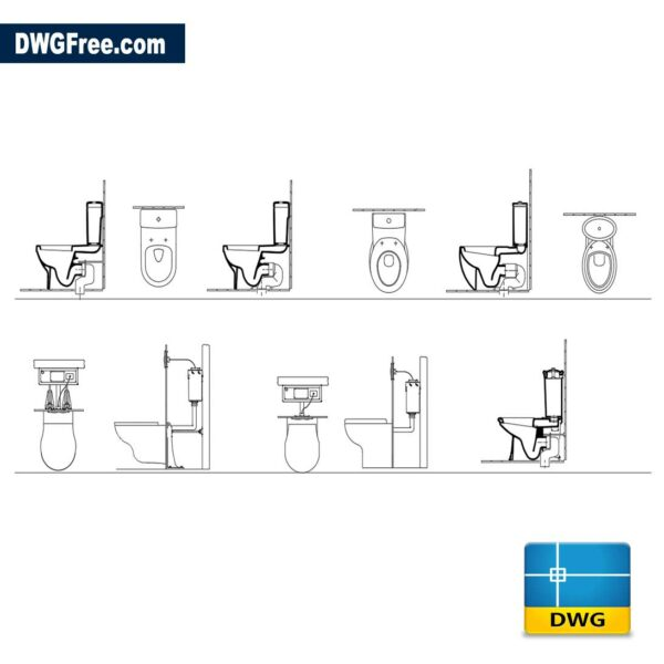 Stylish toilets dwg cad autocad