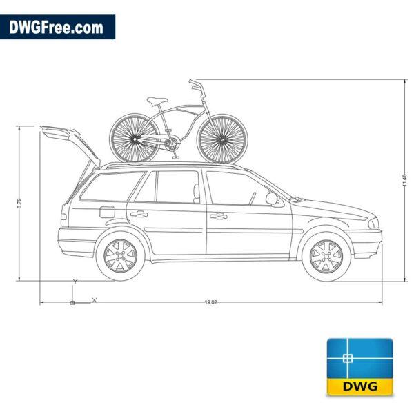 Truck With Bike dwg cad blocks 2d