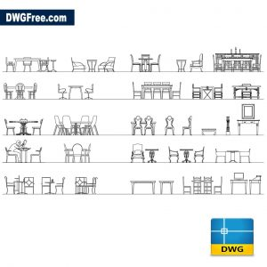 Tables and chairs in elevation dwg
