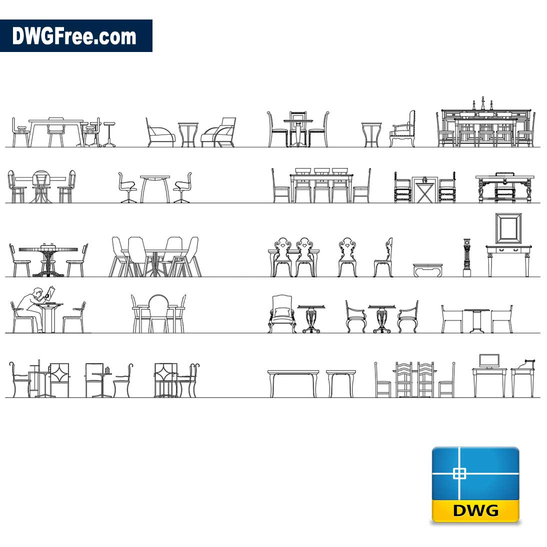 Tables And Chairs In Elevation Dwg Autocad Blocks Free