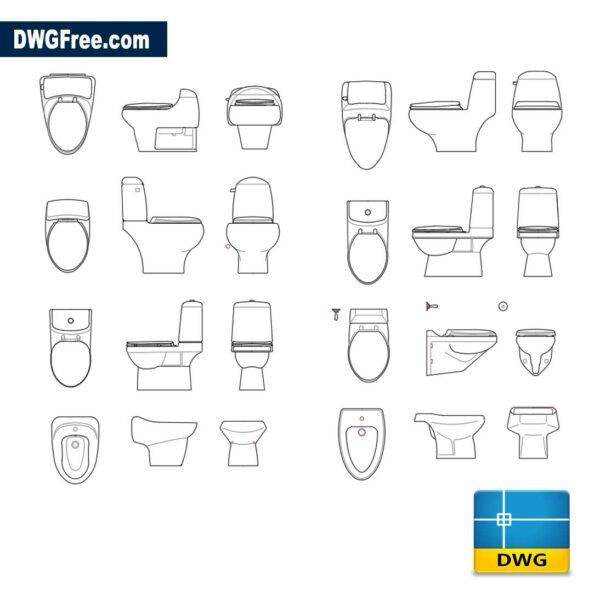 Toilet bowls dwg cad autocad