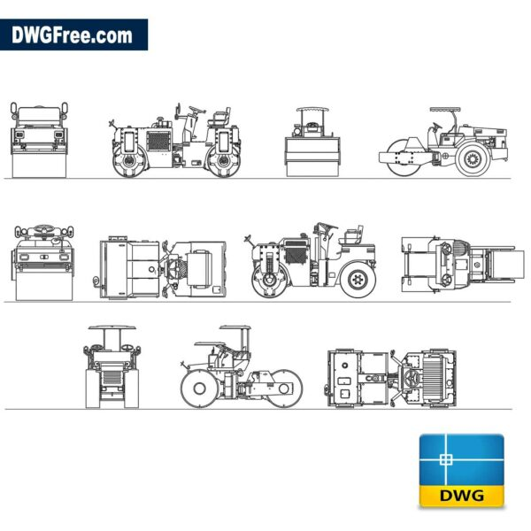 Tractors with compacting rollers dwg cad blocks