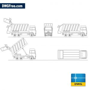 Truck for garbage collection dwg cad blocks 2d