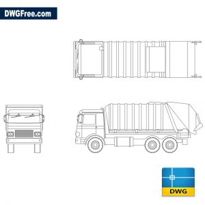 Truck for urban rubbish transport dwg cad blocks