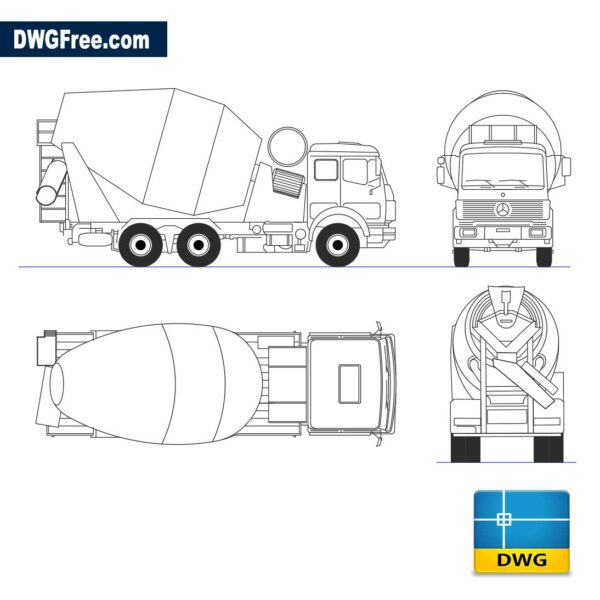 Truck mixer views dwg cad blocks