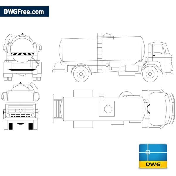 Truck tank for transportation of liquids dwg cad blocks