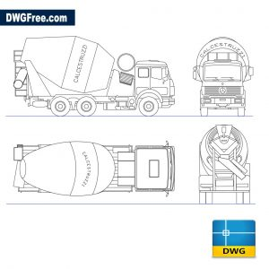 Truck with concrete mixer dwg cad blocks
