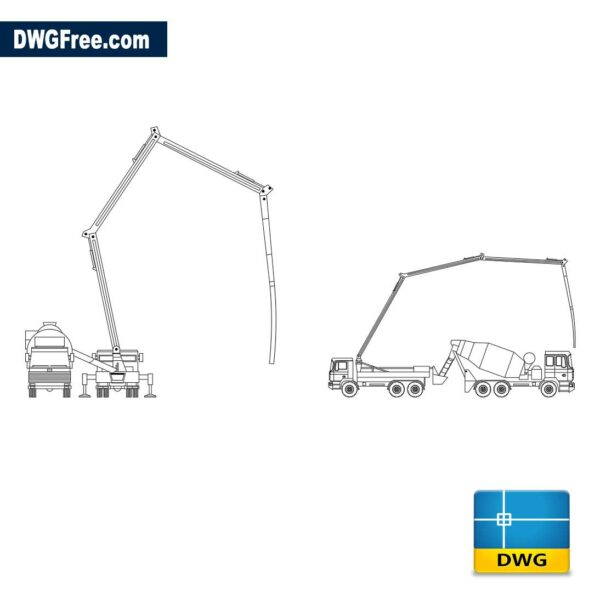 Truck with concrete pumping dwg cad blocks 2d