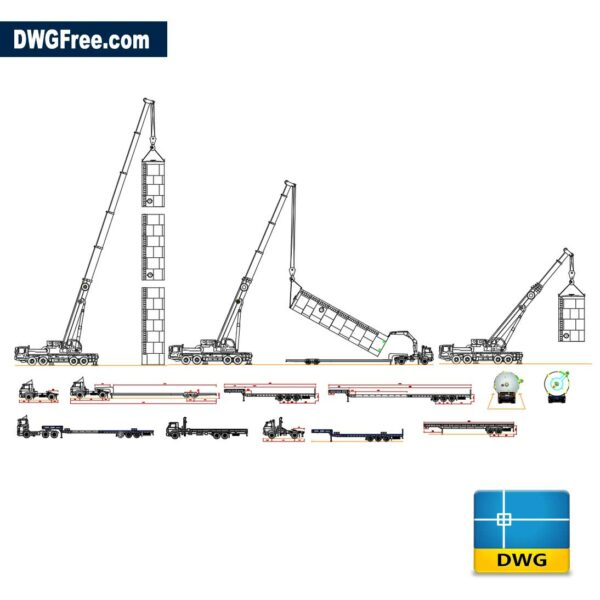 Trucks munck and cranes dwg cad blocks 2d