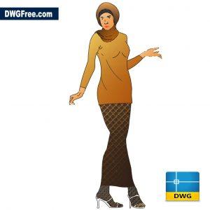 Woman standing in long dress