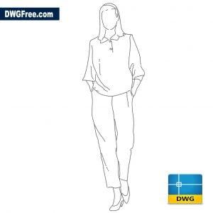 Woman walking forward dwg