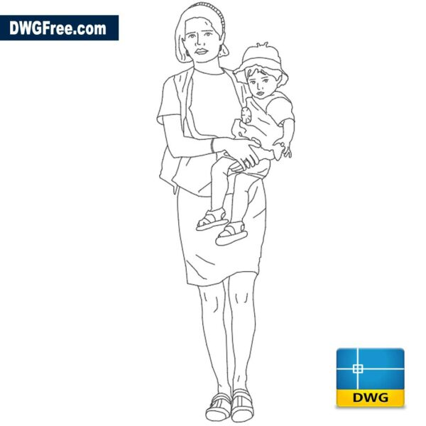 Woman walking with child on her lap