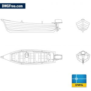 Wooden boat with dwg cad blocks