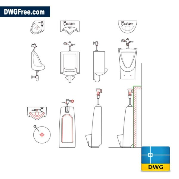 classic urinal dwg cad blocks