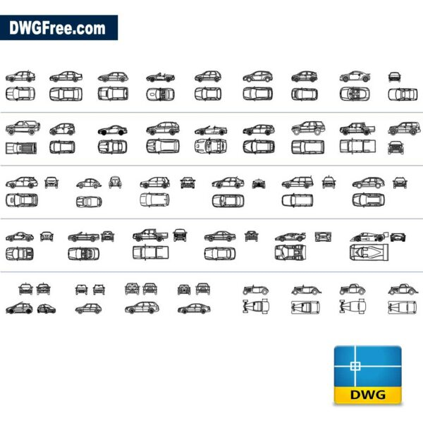 Automobiles dwg cad blocks in AutoCad