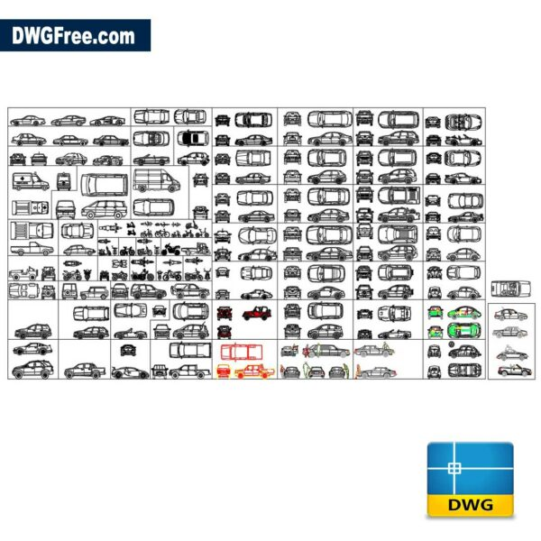 Cars dwg 2D in Autocad
