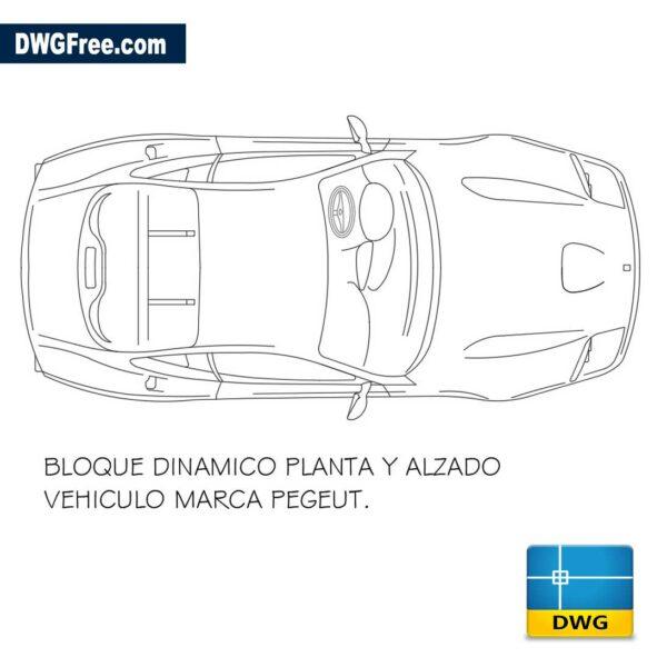 Peugeot car Top dwg
